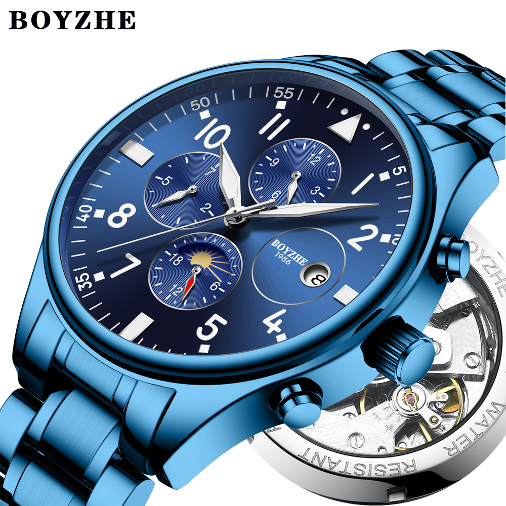 Men Automatic Mechanical Watch Luminous Military Sport Waterproof stainless steel Watches Relogio Masculino Top Brand Luxury guanqin gj16059 watches men luxury brand chinese dragon mechanical automatic waterproof stainless steel luminous gold watch