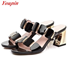 Leisure Sandals 2 Color Cow Leather Roman Style Summer Heel Woman Classic Sandals Wild Section Banquet
