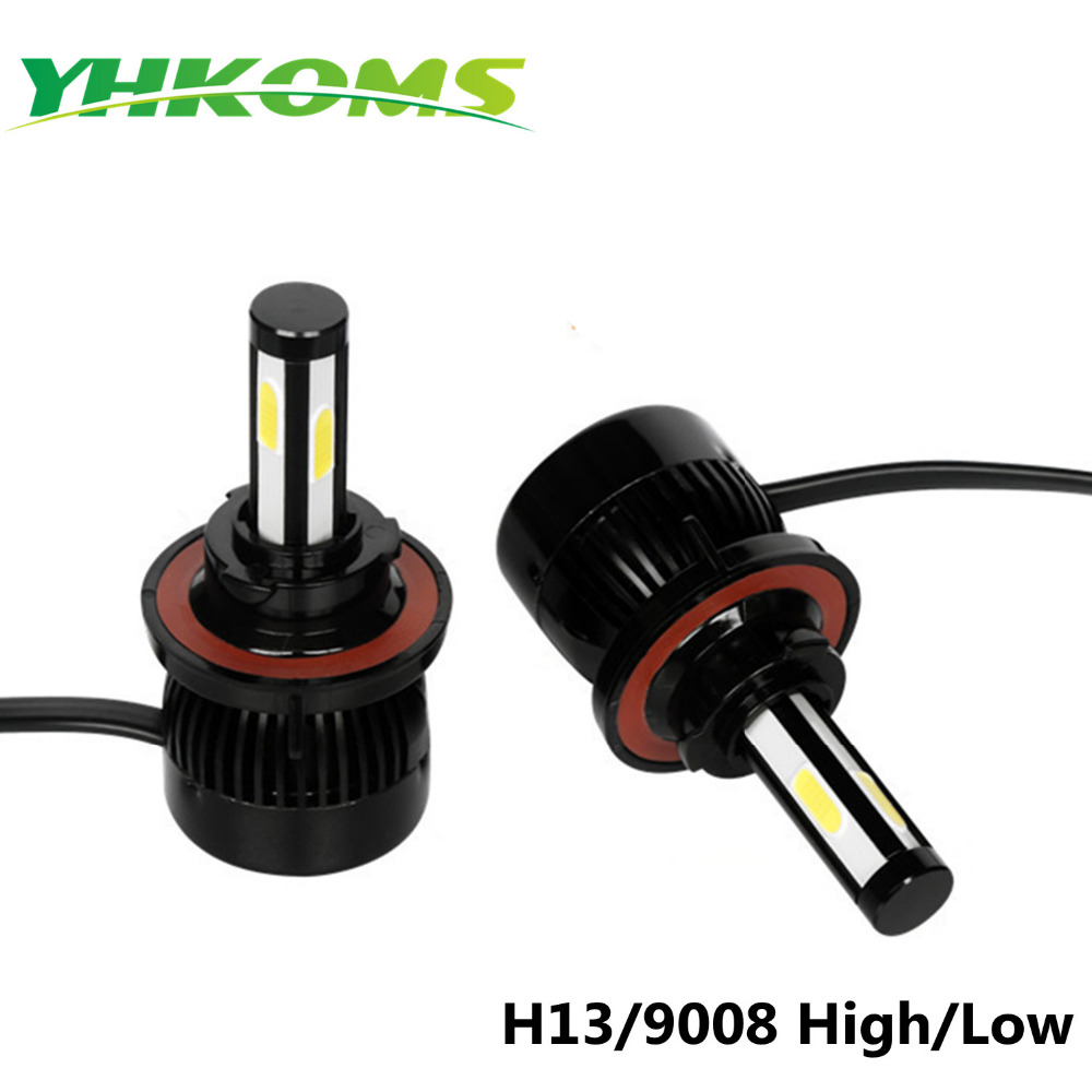 YHKOMS No Flickering LED 8000LM High Power 80W COB Chip 6000k Fan Driver All In One Well Buit Headlight H13 9008 Hi/Lo all in one canbus 80w 8000lm cree chip led h4 hi