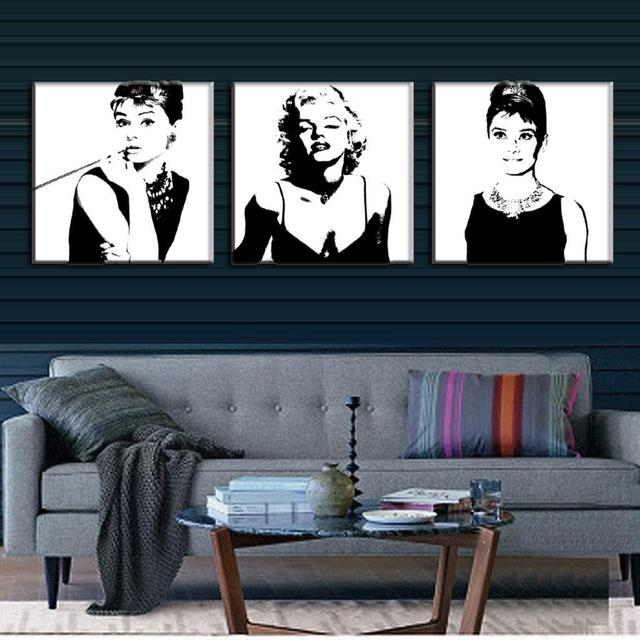 Beautiful 3 Pcs/set Framed Portrait Canvas Painting Black And White Marilyn Monroe  And Audrey Hepburn