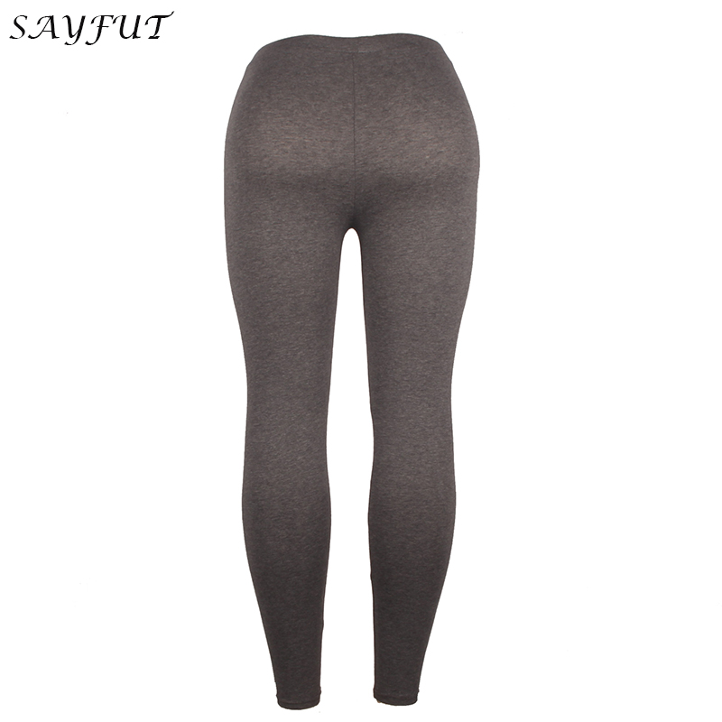 dae34b104f8 SAYFUT Cotton Spandex Gray Ultra Soft Basic Leggings for Women High ...