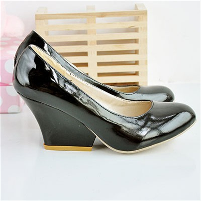 ANMAIRON Vintage Sexy Round Toe Patent Leather Wedges Women Pumps Shoes 2018 Casua New Design Less Platform Pumps big size 34 45 in Women 39 s Pumps from Shoes