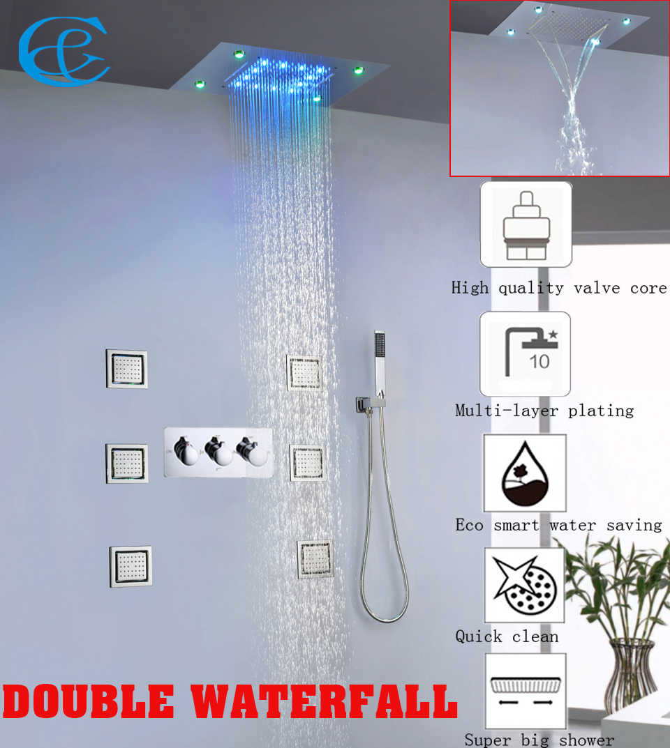 Bathroom Waterfall And Rain Shower Faucet Set 100 240v Ac Colorful Led Shower Head Hot And Cold Mixer Faucet Valve Contemporary