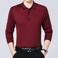 Fashion Solid Men S Polo Shirt Slim Fit Long Sleeve Wool Blends Knitwear Tops Male Brand