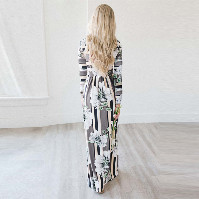 a75333ddec ELSVIOS Womens Dress Autumn Floral Printed Long Sleeve Maxi Dress Ladies  striped Evening Party Loose dress Beach Long dresses-in Dresses from Women's  ...