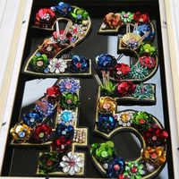 1 à 9 gros paillettes strass perlé fleur nombre patchs coudre sur cristal Patch pour vêtements perles Applique vêtements Patch
