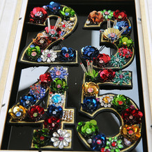 1 to 9 Big Sequins Rhinestone beaded Flower Number Patches Sew On Crystal Patch for Clothing Beading Applique Clothing Patch