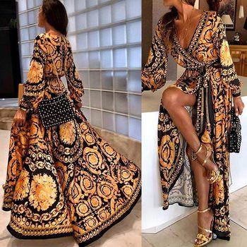 Mode femmes Boho col en v imprimé robe longue robe longue pour l'été GM
