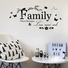 Family Love Never Ends Quotes Wall Stickers Flower Butterfly Bird Home Decal Art Words Living Room Decor Wedding Decoration