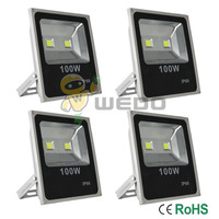 4 PCS 100W Cool White Warm White Ultra Slim Gray Shell LED Flood Lights Garden Yard