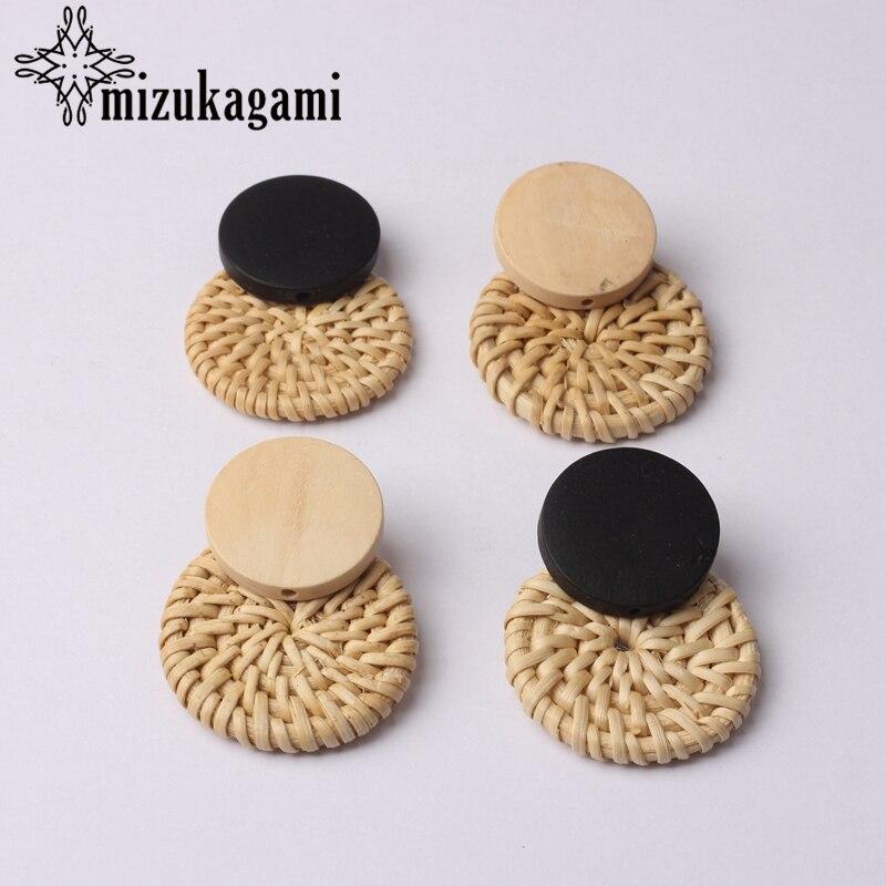Bohemia Handmade Wooden Straw Weave Rattan Earring Brown Vine Braid Geometric Round Fashion Earrings For Women Jewelry in Drop Earrings from Jewelry Accessories