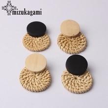 Bohemia Handmade Wooden Straw Weave Rattan Earring Brown Vine Braid Geometric Round Fashion Earrings For Women Jewelry