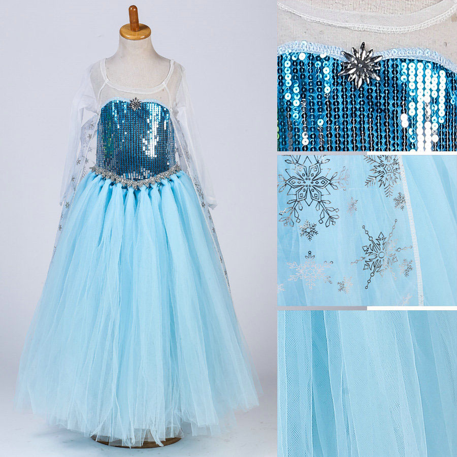 Fashion carnaval costumes for kids childrens wear tutu crochet princess elsa dress cosplay
