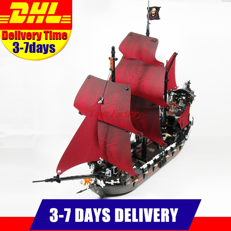 MOC  LEPIN 16009 1151Pcs Pirates Of The Caribbean Queen Anne's Reveage Ship Model Building Kits Set Blocks Brick Toys Gift 4195 lepin compatible 16009 1151pcs pirates of the caribbean queen anne s reveage model building kit blocks brick toys for kids 4195