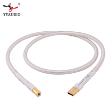 Gümüş kaplama Hifi USB kablosu Yüksek Kaliteli 6N OCC Tipi A B DAC Veri USB kablosu