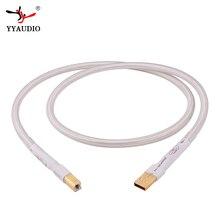 Verzilverd Hifi usb Kabel Hoge Kwaliteit 6N OCC Type A B DAC Data USB Kabel