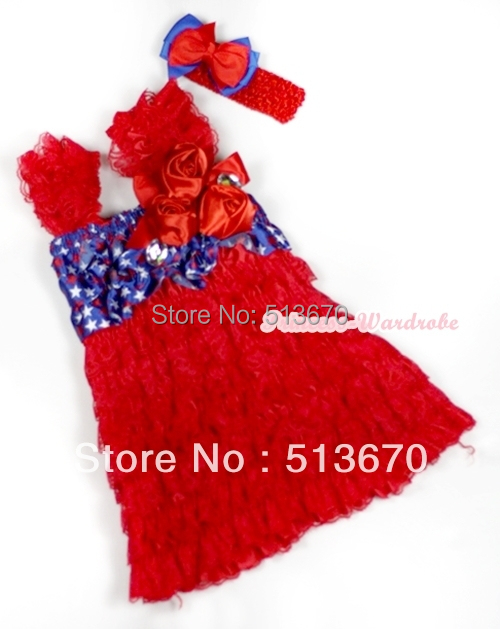 4th July Red Lace USA Star Cap Sleeve Red Rose Girl OnePiece Party Dress 1-5Year MARD011