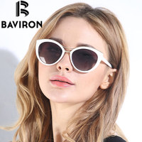 BAVIRON New Fashion Cat Eye Sunglasses Women White Frame Gradient Polarized Sun Glasses Driving UV400 Aluminium Eyewear Box 8527