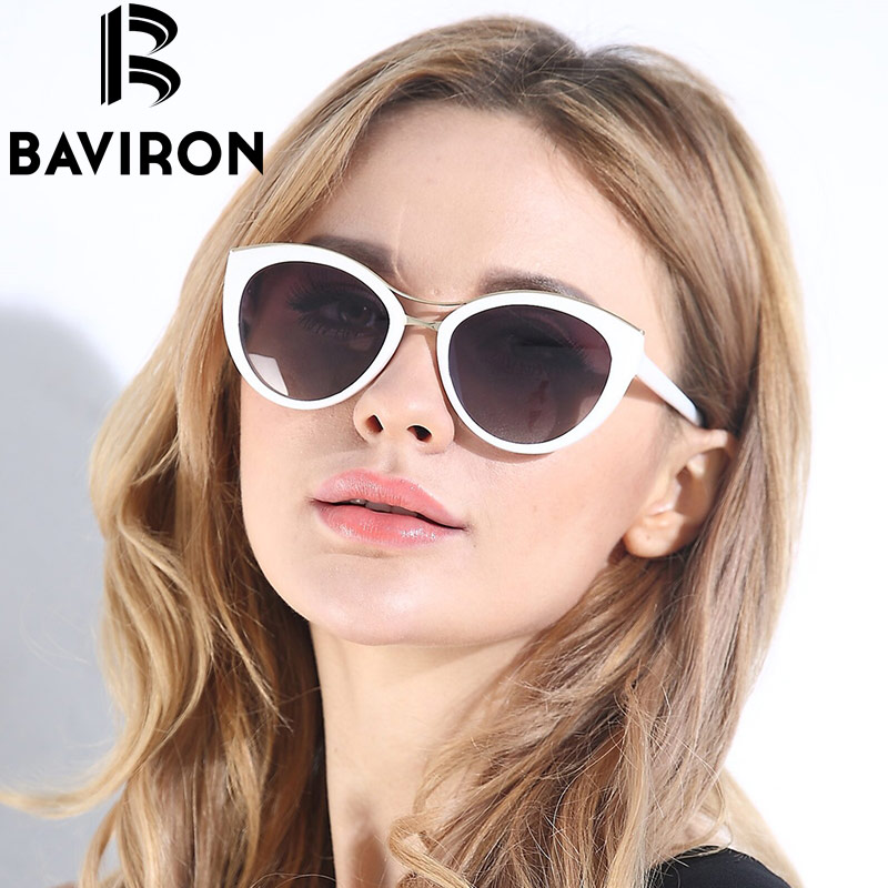 baviron new fashion cat eye sunglasses women white frame gradient polarized sun glasses driving uv400 aluminium