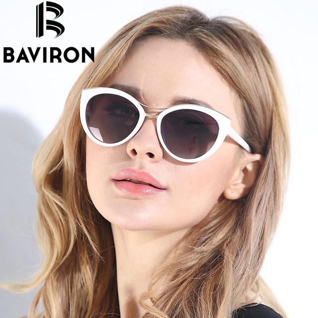 BAVIRON Nova Moda Olho de Gato Óculos De Sol Das Mulheres Quadro Branco Gradiente Polarizada óculos de Sol Óculos de Condução UV400 Óculos de Alumínio Caixa de 8527