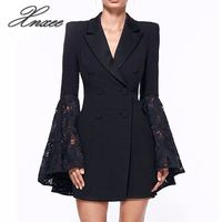 Xnxee work ladies suits blazer Women double breast business female office suit Elegant pink winter jacket coat outwear