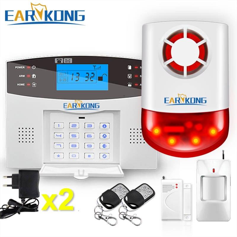 2018 neue Earykong Wireless GSM Alarm System LCD Tastatur Tür Winodw Öffnen Detektor Wireless Strobe Sirene PIR Sensor Alarm M2B