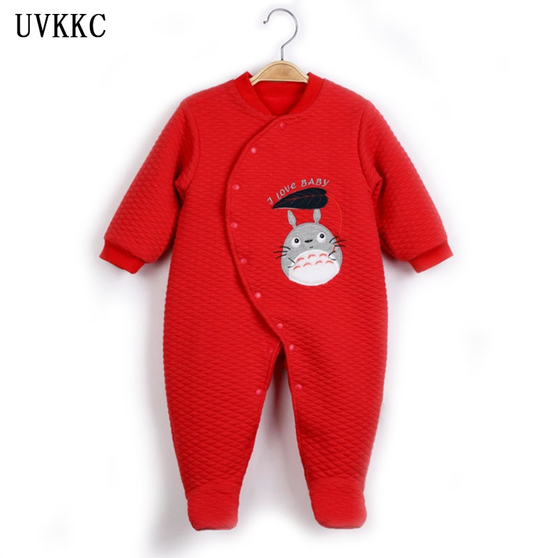 UVKKC Winter Newborn Rompers baby girls boys cute Jumpsuit Cotton baby Clothes set Long Sleeve Clothing ropa de bebe varon