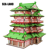 Children Iq Puzzle 3D Wooden Toy Chinese Style Buildings Series Model Wood Toys Assembled Montessori Toy 3D Wooden Puzzles Gift