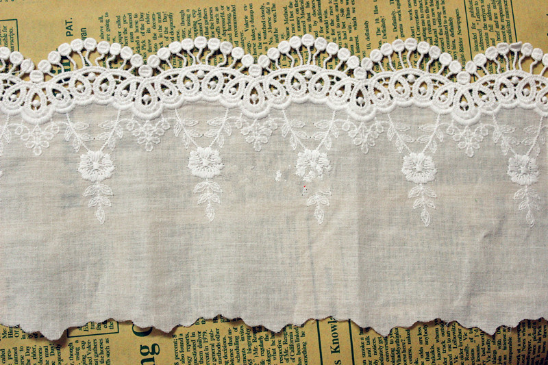 ᗗAncho 13.5 cm de tela de algodón blanco bordó las telas del cordón ...