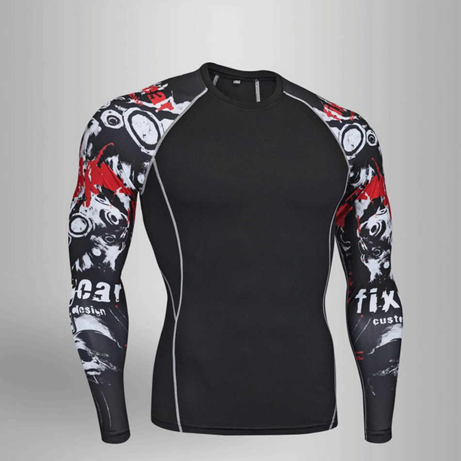 UFC compress functional men Camiseta de manga larga MMA fitness hombres Rashguard camiseta + Pantalones 2 piezas ropa de hombre