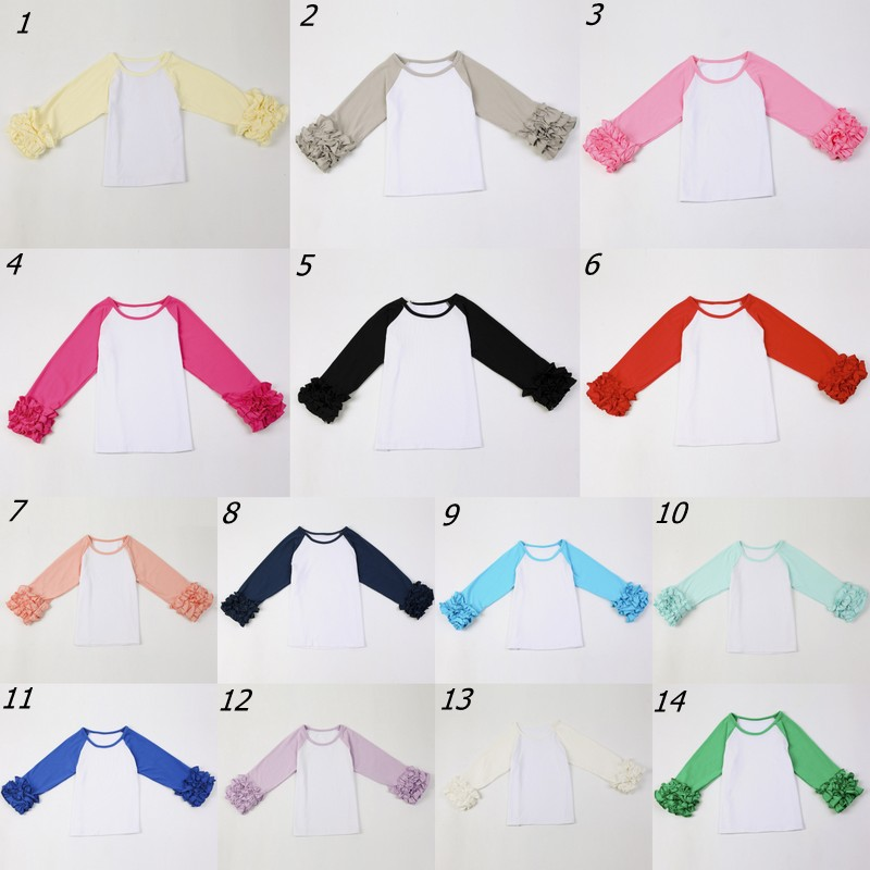 Girls Monogram Ruffle Sleeve Raglan Shirts Multiple Colors Monogramable raglans Toddler girls icing shirts Christmas icing tops