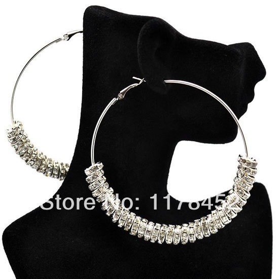 Silver Plated Basketball Wives Rhinstone Spacer Beads Wives Hoop Bling Earrings