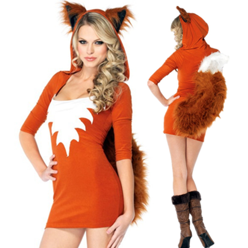New Adult Sexy Cute Orange Tail Fox Halloween Animal Women Costumes Slim Bodycon -8005