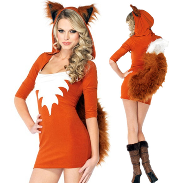new adult sexy cute orange tail fox halloween animal women costumes slim bodycon dresses carnival party