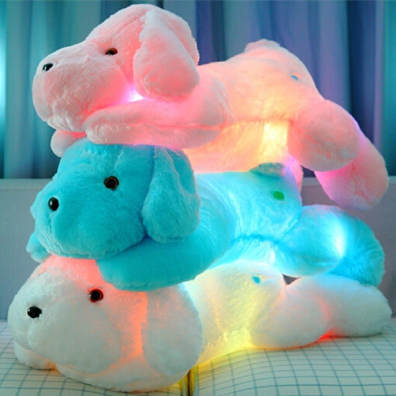 New Year 50CM and  80CM  Length Creative Night Light LED Lovely Dog Stuffed and Plush Toys Best Gifts for Kids and Friends  (8)