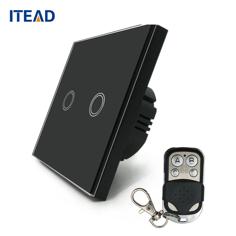 Wall Touch Switch Remote Control Light Panel EU Wireless Sensor On/Off 2 Gang RF433 240V Smart Controller eu us smart home remote touch switch 1 gang 1 way itead sonoff crystal glass panel touch switch touch switch wifi led backlight