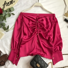 NiceMix Sexy Women 2019  Satin Long Sleeved Casual Shirt Female New Korean Lady Autumn Loose Slash Neck Elegant Blouse Tops