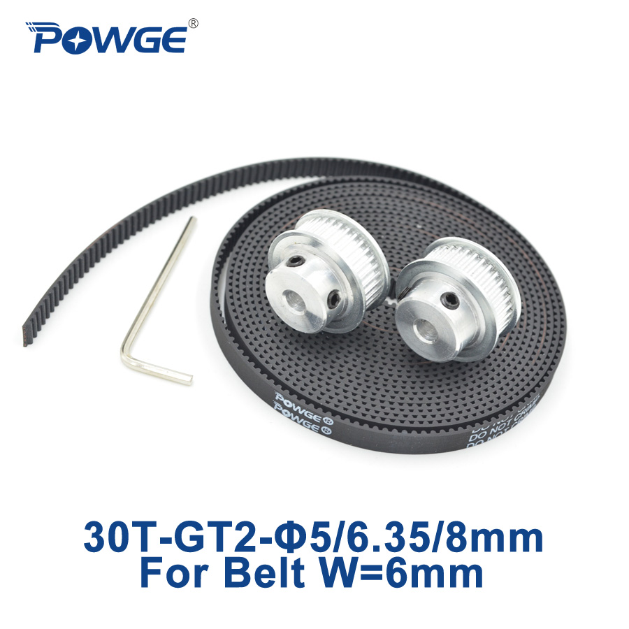 POWGE 2pcs 30 teeth GT2 Timing Pulley Bore 5mm 6.35mm 8mm + 3Meters width 6mm 2GT Synchronous Belt 2GT pulley Belt 30Teeth 30T super weird heroes outrageous but real