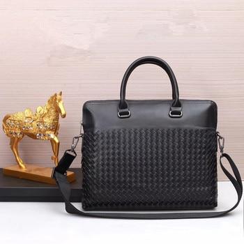 Kaisiludi leather woven men's bag handbag business banner cowhide men's briefcase computer bag leisure shoulder bag
