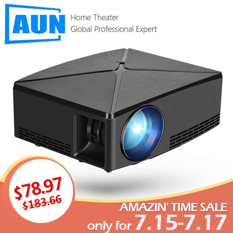 AUN MINI Projektor C80 UP, 1280x720 Auflösung, Android WIFI Proyector, LED Tragbare 3D Beamer für 4K Hause Kino, Optional C80