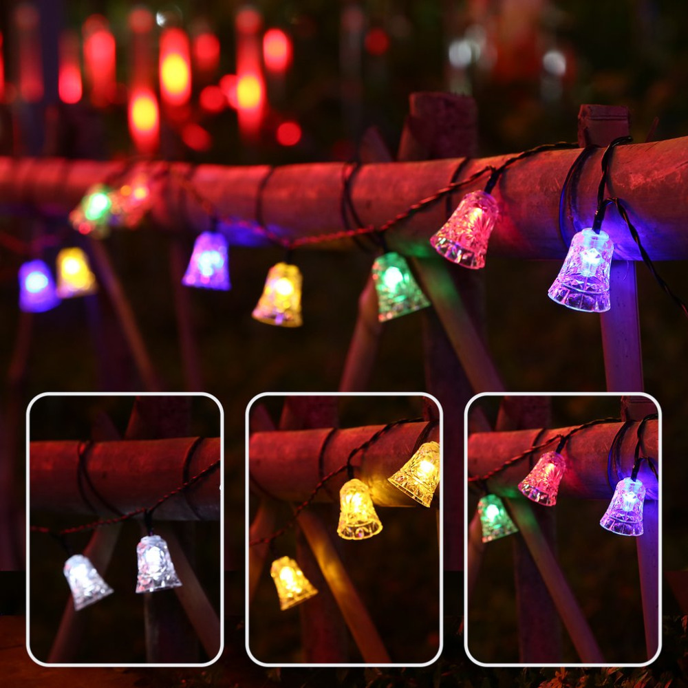 Solar Panel String Lights: 20 LED Lights Strings Bell Solar Christmas String Lamp