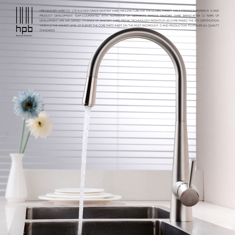 HPB Brass Brushed/Chrome Pull Out Deck Mounted Hot And Cold Water Kitchen Mixer Tap Pb-free Sink Faucet torneira cozinha HP4101 hpb pull out spray kitchen chrome brass swivel faucet spout sink mixer tap deck mounted hot and cold water single handle hp4102