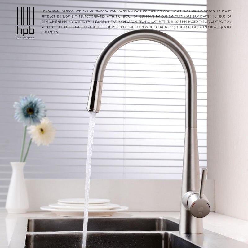 HPB laiton brossé robinet de cuisine mitigeur robinet de cuisine pivotant 360 degrés Rotation eau chaude et froide mélangeur HP4101