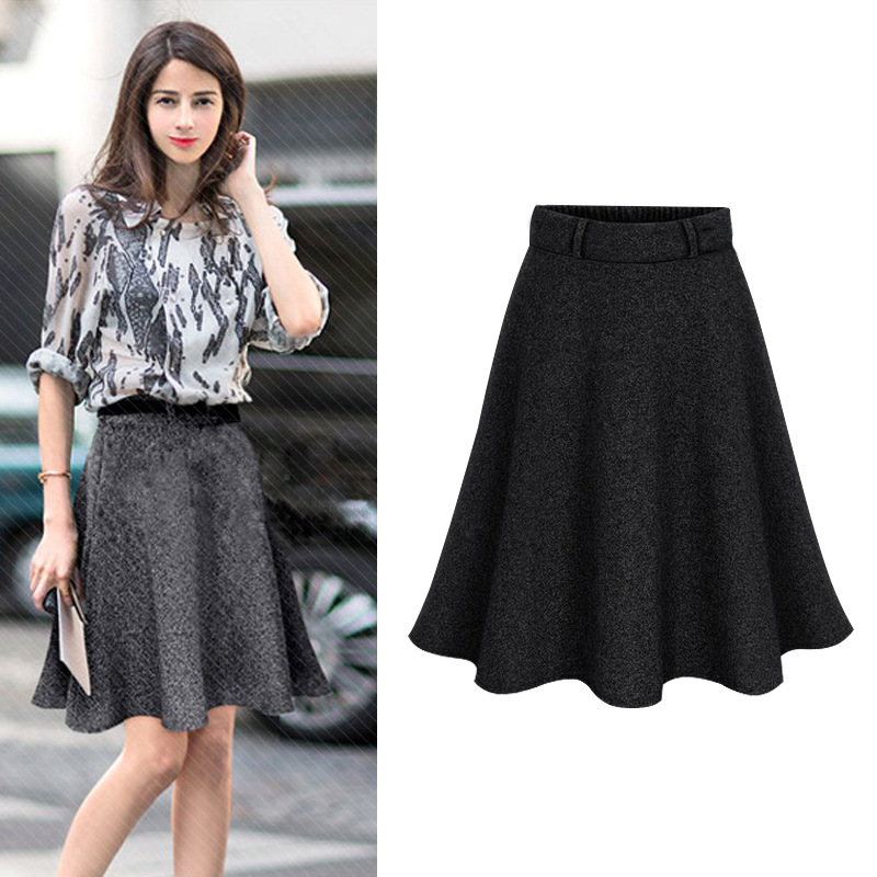 Autumn Women Elastic Waist Plus Size A-line Skirts Hip Slim Medium-long Loose Plus Size Skirts Large Size Skirts