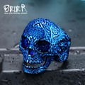 Beier 316L stainless steel ring hot sale punk biker skull man Classic Garden Flower Skull ring fashion jewelry  BR8-071
