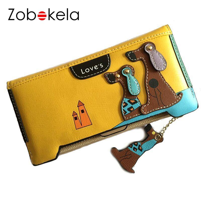 ZOBOKELA Women Wallets zipper Female coin purse Cartoon dog long Women Wallets Female Purses card holder Luxury Designer Clutch