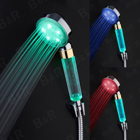 Self Powered LED Shower Head Temperature Control 3 Color Shower Head Retail Color Box Led Faucets