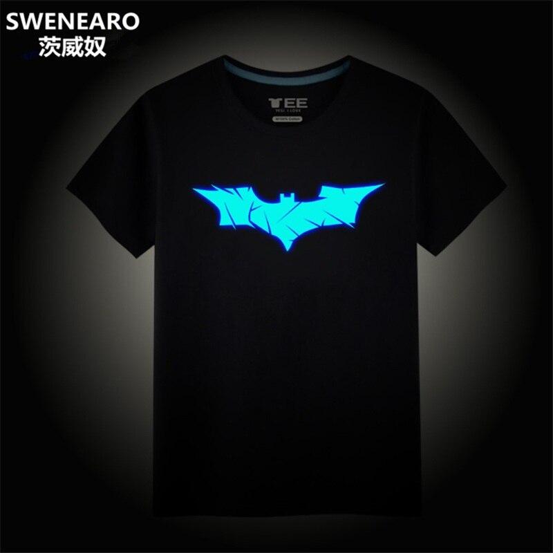 SWENEARO Batman Costume Summer Glow in Dark Batman   T     Shirt   Neon Design Hipster Mens Clothing Hi Street Clothes Cartoon Tee   Shirt