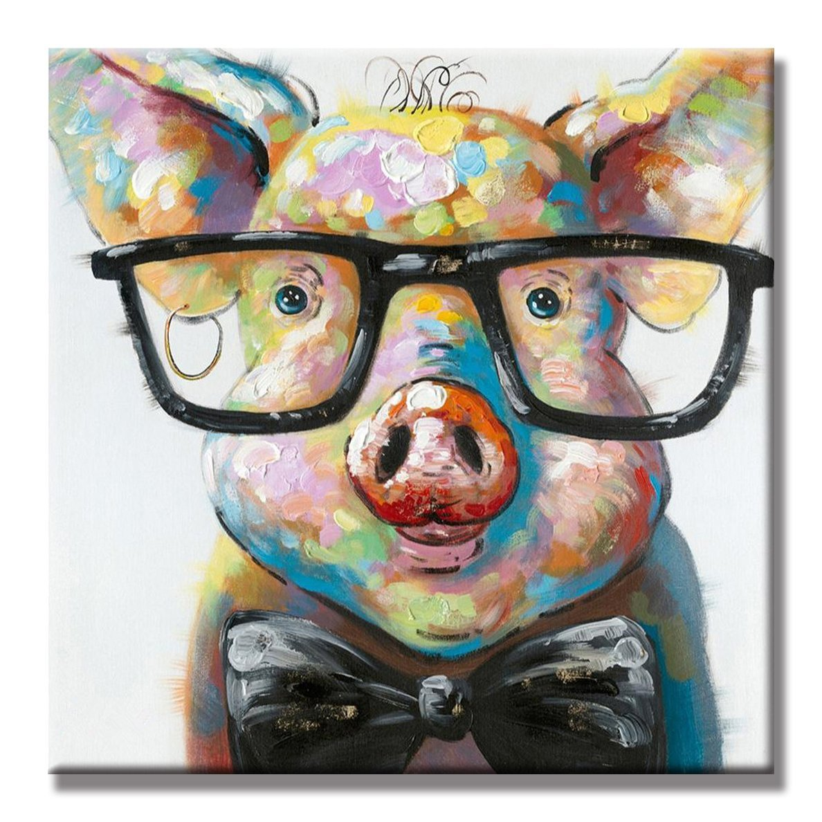 Art-Painting 100% Hand Painted Oil Painting Cute Colorful Animal Smart Potter Pig Decorative Artwork for Home Decor (32x32 Inch)