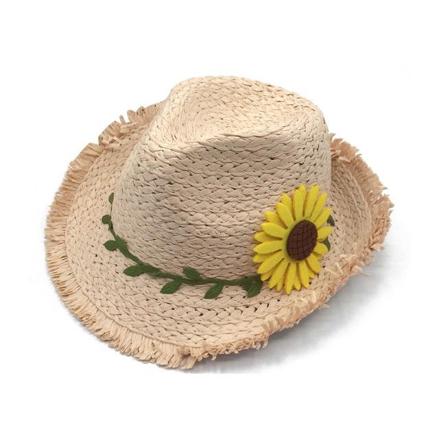Children hat Sunflower Beach Cap Girls Outdoor Sun Visor Hat Kids Straw
